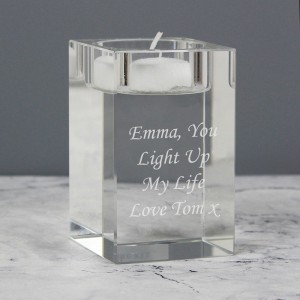 Personalised Optic Glass Tea Light Candle Holder