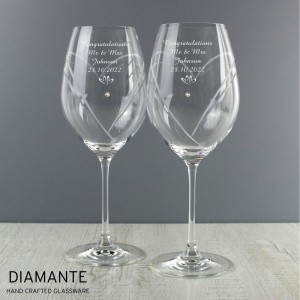 Personalised Hand Cut Little Hearts Diamante Wine Glasses with Swarovski Elements