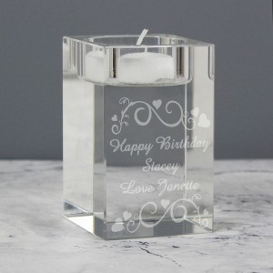 Personalised Ornate Swirl Tea Light Candle Holder