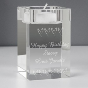 Personalised Small Hearts Tea Light Candle Holder