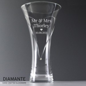 Personalised Mr & Mrs Large Hand Cut Diamante Heart Vase with Swarovski Elements