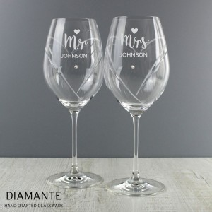 Personalised Mr & Mrs Hand Cut Heart Pattern Pair of Wine Glasses with Swarovski Elements