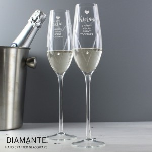 Personalised Hand Cut Heart Celebration Pair of Flutes with Swarovski Elements in Gift Box