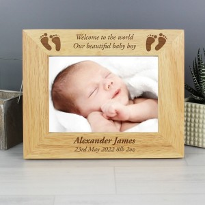 Personalised 7x5 Baby Feet Wooden Photo Frame