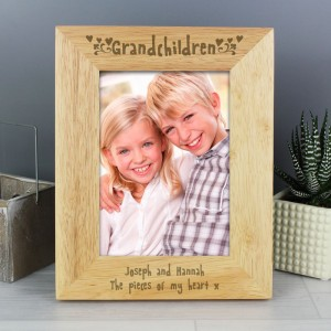 Personalised Grandchildren 5x7 Wooden Photo Frame