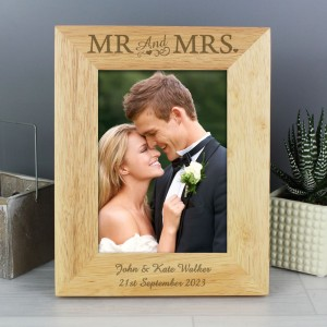 Personalised Mr & Mrs 7x5 Wooden Photo Frame