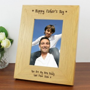 Personalised Oak Finish 4x6 Happy Father's Day Photo Frame