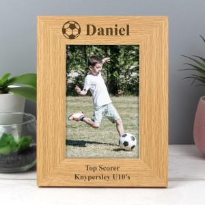 Personalised Oak Finish 4x6 Football Photo Frame