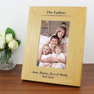Personalised Formal 4x6 Oak Finish Photo Frame