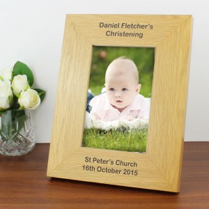 Personalised Long Message 6x4 Oak Finish Photo Frame