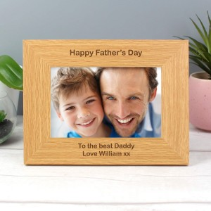Personalised Short Message 6x4 Landscape Oak Finish Photo Frame