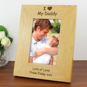 Personalised I Heart 6x4 Oak Finish Photo Frame