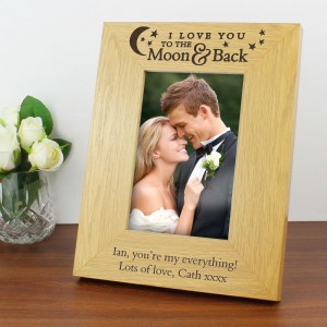 "Personalised ""To the Moon and Back"" 6x4 Oak Finish Photo Frame"