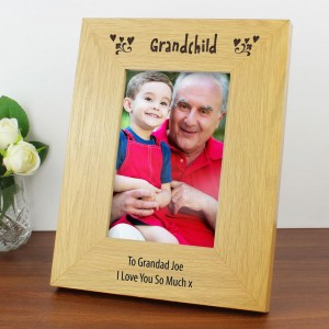 Personalised Oak Finish 4x6 Grandchild Photo Frame