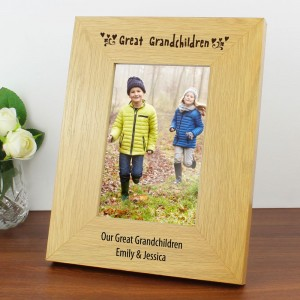 Personalised Great Grandchildren 6x4 Oak Finish Photo Frame
