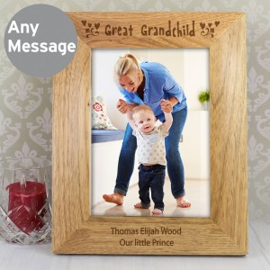 Personalised Great Grandchild 7x5 Wooden Photo Frame