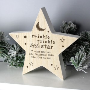 Personalised Twinkle Twinkle Rustic Wooden Star Decoration