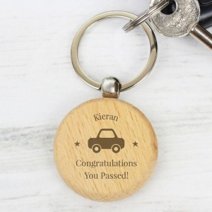 "Personalised ""Car Motif"" Wooden Keyring"