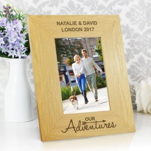 Personalised Oak Finish 4x6 Our Adventures Photo Frame