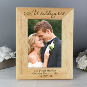 "Personalised ""Our Wedding Day"" 7x5 Wooden Photo Frame"