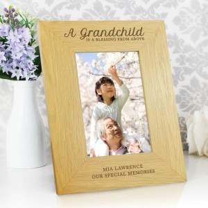 "Personalised ""A Grandchild Is A Blessing"" 6x4 Oak Finish Photo Frame"