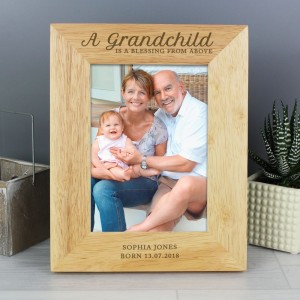 "Personalised ""A Grandchild is a Blessing"" 7x5 Wooden Photo Frame"