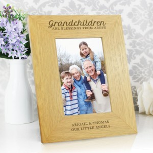 "Personalised ""Grandchildren Are A Blessing"" 6x4 Oak Finish Photo Frame"