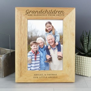 "Personalised ""Grandchildren are a Blessing"" 5x7 Wooden Photo Frame"