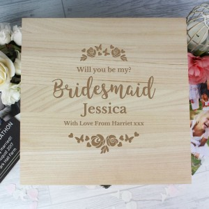 Personalised Bridesmaid Floral Watercolour Wedding Large Wooden Keepsake Box