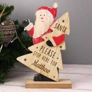 Personalised Santa Stop Here Wooden Santa Decoration
