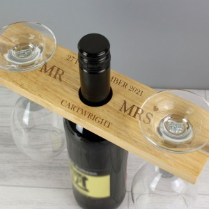 Personalised Married Couple Wine Glass & Bottle Holder