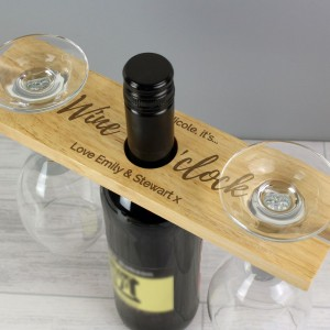 "Personalised ""Wine O'clock"" Wine Glass & Bottle Butler"