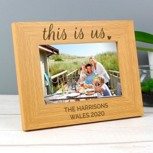 "Personalised ""This Is Us"" 4x6 Landscape Wooden Photo Frame"