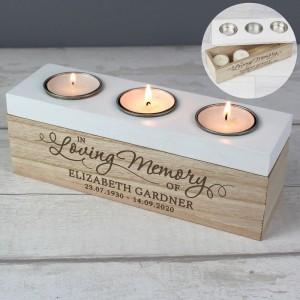 Personalised In Loving Memory Triple Tea Light Box