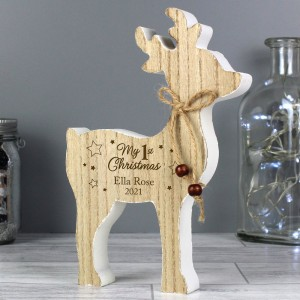 "Personalised ""1st Christmas"" Rustic Wooden Reindeer Decoration"
