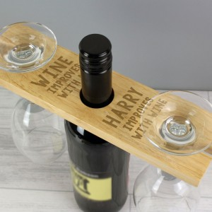 """Personalised """"Improves With Wine"""" Wine Glass & Bottle Holder"""