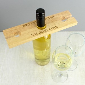 Personalised Free Text Wine Glass & Bottle Holder