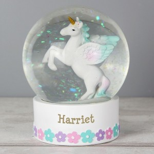 Personalised Unicorn Name Snow Globe