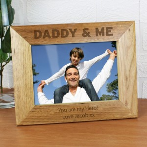 Personalised Daddy & Me 7x5 Landscape Wooden Photo Frame