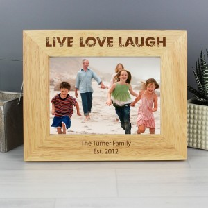 Personalised Live Love Laugh 7x5 Landscape Wooden Photo Frame