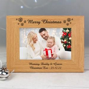 Personalised Oak Finish 6x4 Snowflake Photo Frame