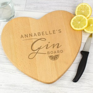 Personalised Gin Heart Chopping Board