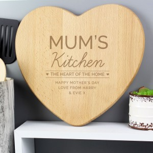 "Personalised ""Heart of The Home"" Wooden Chopping board"