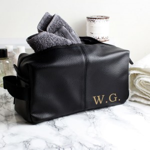 Personalised Luxury Initials Black leatherette Wash Bag