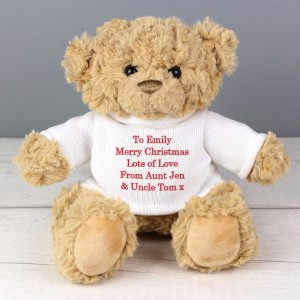 Personalised Teddy Message Bear in Red Jumper