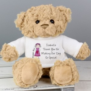 Personalised Cartoon Flower Girl Message Bear
