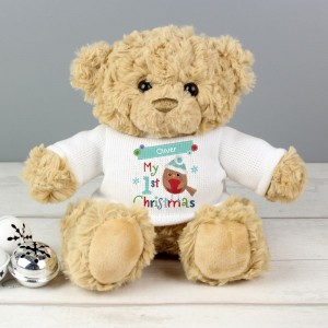 "Personalised Felt Stitch Robin ""My 1st Christmas"" Teddy Bear"