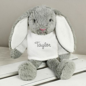 Personalised Name Only Bunny Rabbit In Cream Jumper - Brown Embroidery