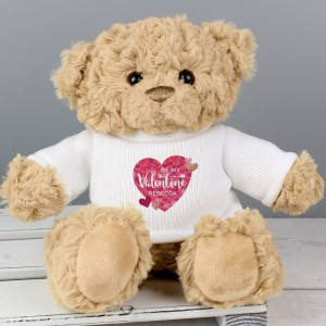 Personalised Valentine's Day Confetti Hearts Teddy Bear
