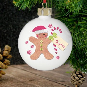 Personalised Felt Stitch Gingerbread Man Bauble